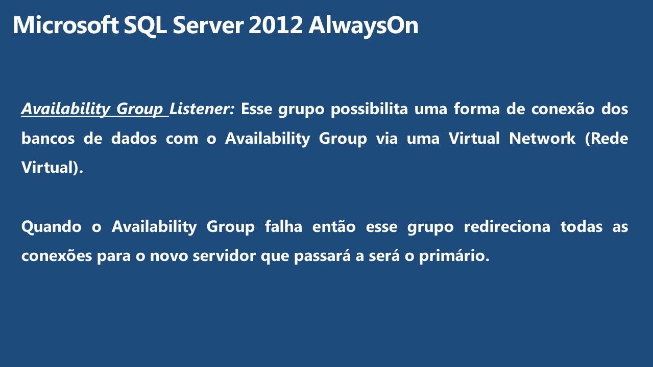 Availability Group Listener: Esse grupo possibilita uma forma de conexão dos bancos de dados com o Availability Group via uma Virtual Network (Rede Vi