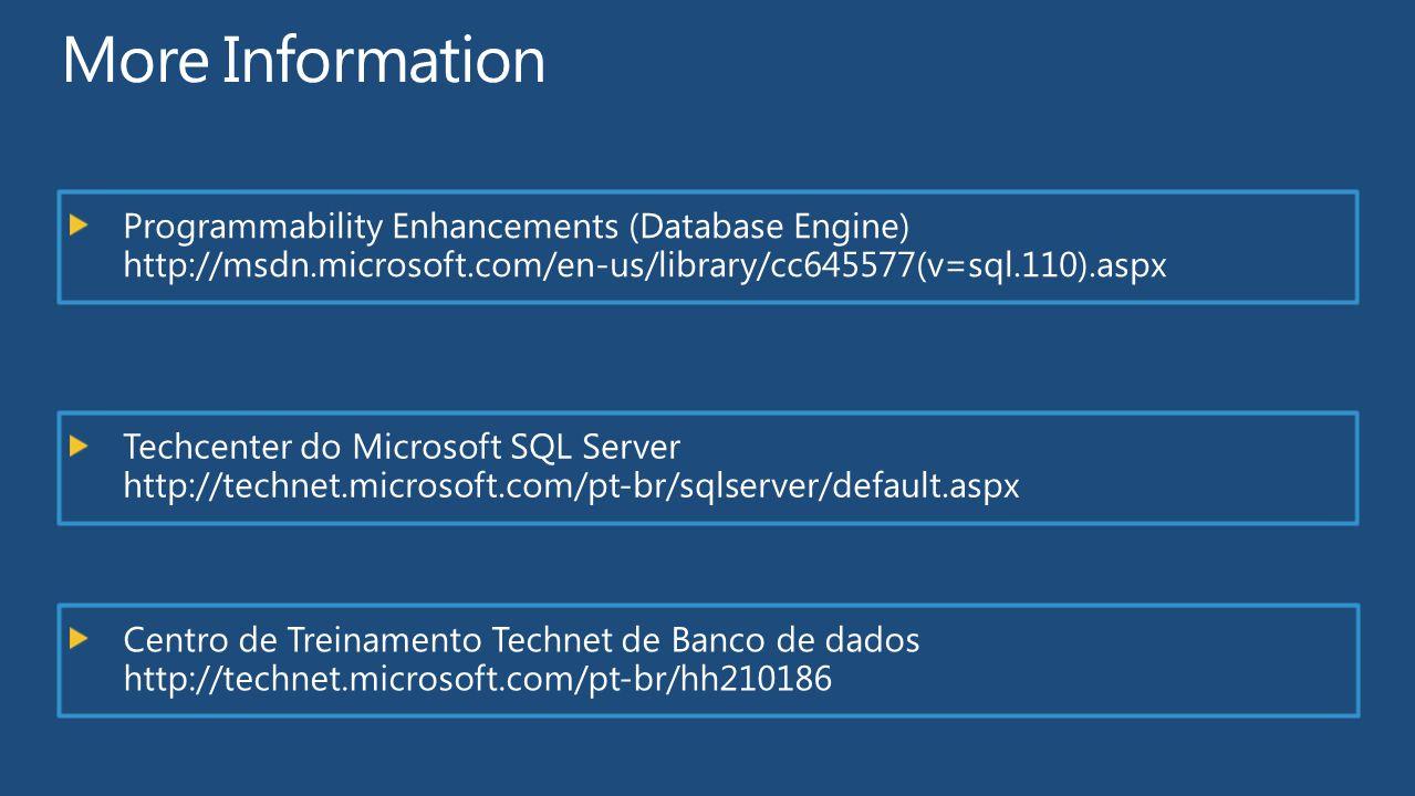 Programmability Enhancements (Database Engine) http://msdn.microsoft.com/en-us/library/cc645577(v=sql.110).aspx Techcenter do Microsoft SQL Server htt