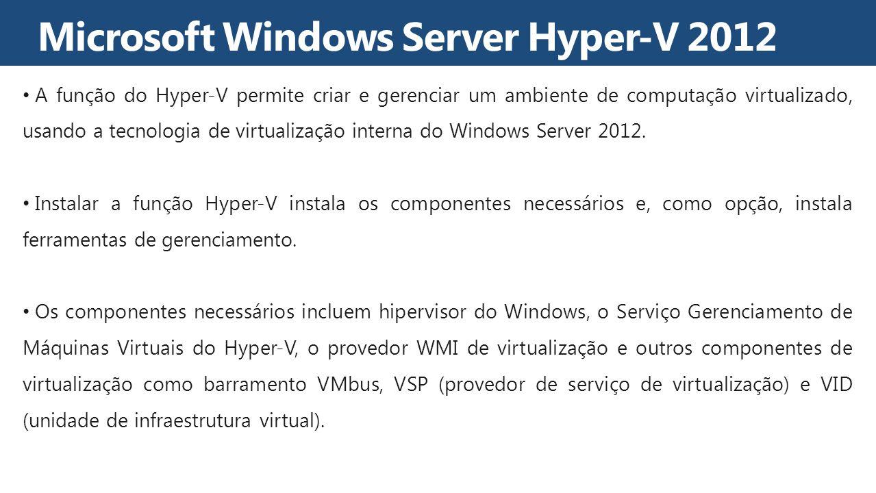 A função do Hyper-V permite criar e gerenciar um ambiente de computação virtualizado, usando a tecnologia de virtualização interna do Windows Server 2