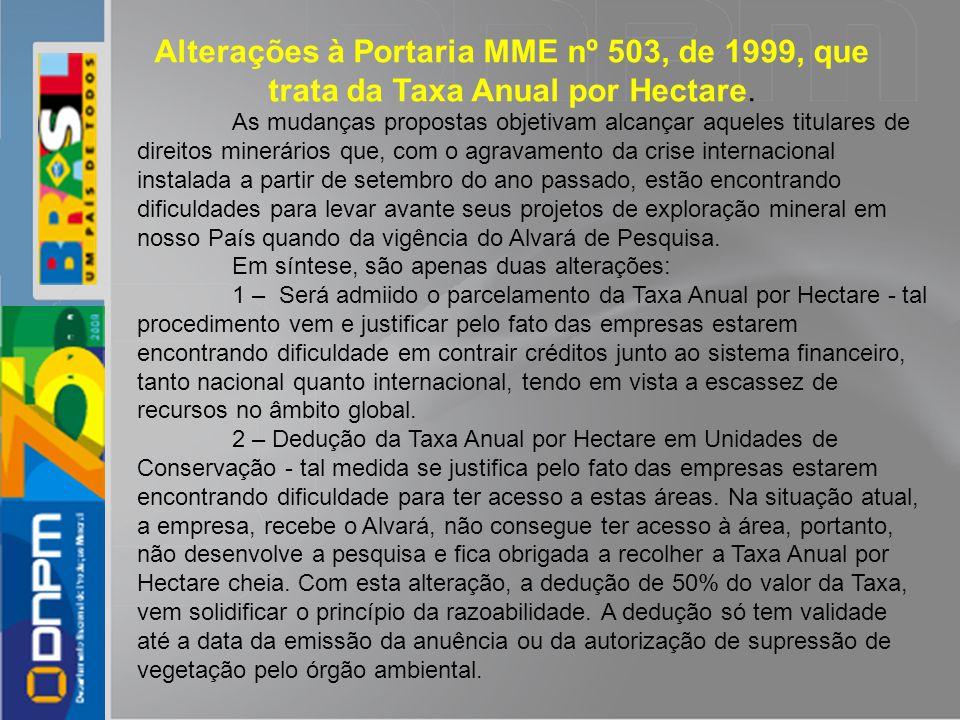 Alterações à Portaria MME nº 503, de 1999, que trata da Taxa Anual por Hectare. As mudanças propostas objetivam alcançar aqueles titulares de direitos