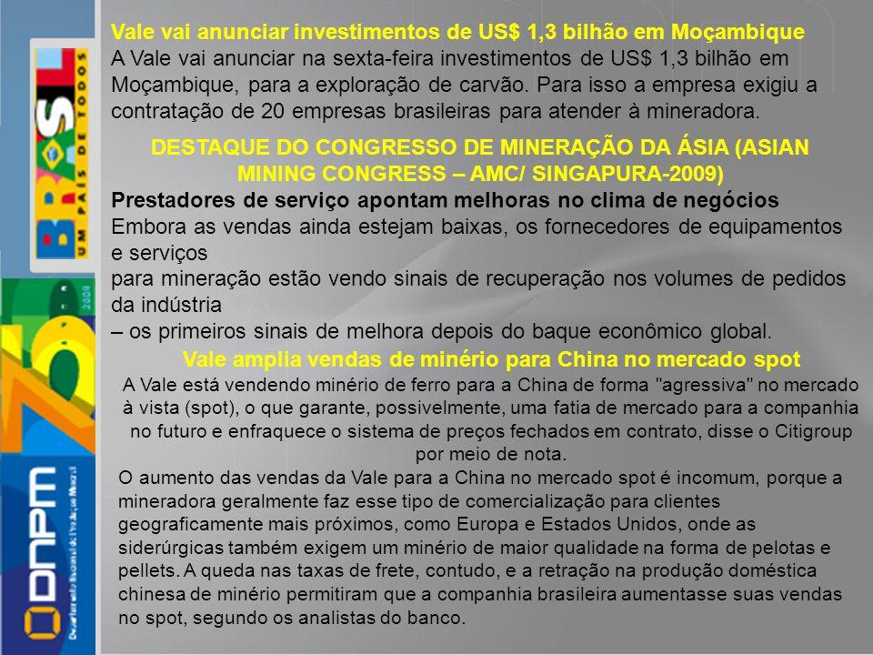 Vale vai anunciar investimentos de US$ 1,3 bilhão em Moçambique A Vale vai anunciar na sexta-feira investimentos de US$ 1,3 bilhão em Moçambique, para