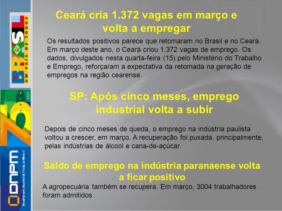 Os resultados positivos parece que retomaram no Brasil e no Ceará. Em março deste ano, o Ceará criou 1.372 vagas de emprego. Os dados, divulgados nest