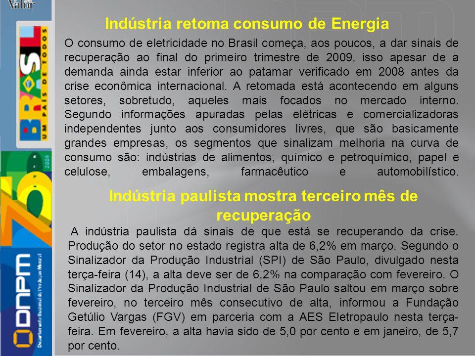O consumo de eletricidade no Brasil começa, aos poucos, a dar sinais de recuperação ao final do primeiro trimestre de 2009, isso apesar de a demanda a