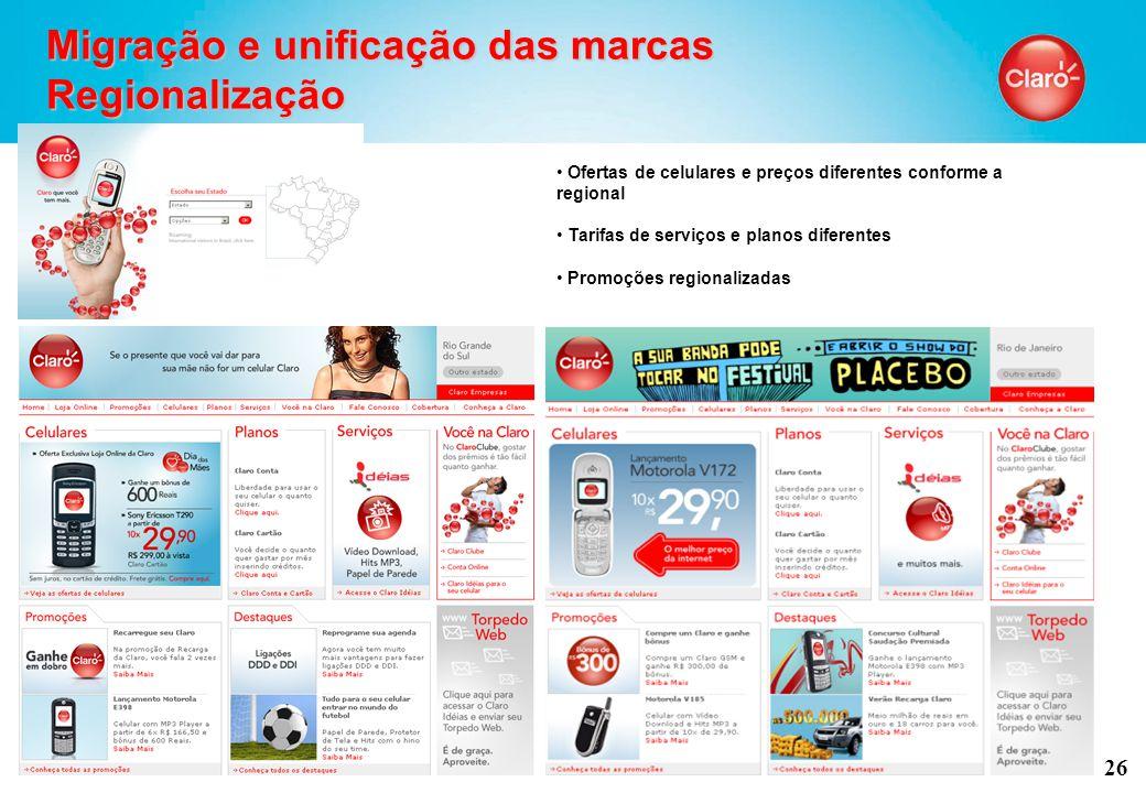 26 Migração e unificação das marcas Regionalização Ofertas de celulares e preços diferentes conforme a regional Tarifas de serviços e planos diferentes Promoções regionalizadas