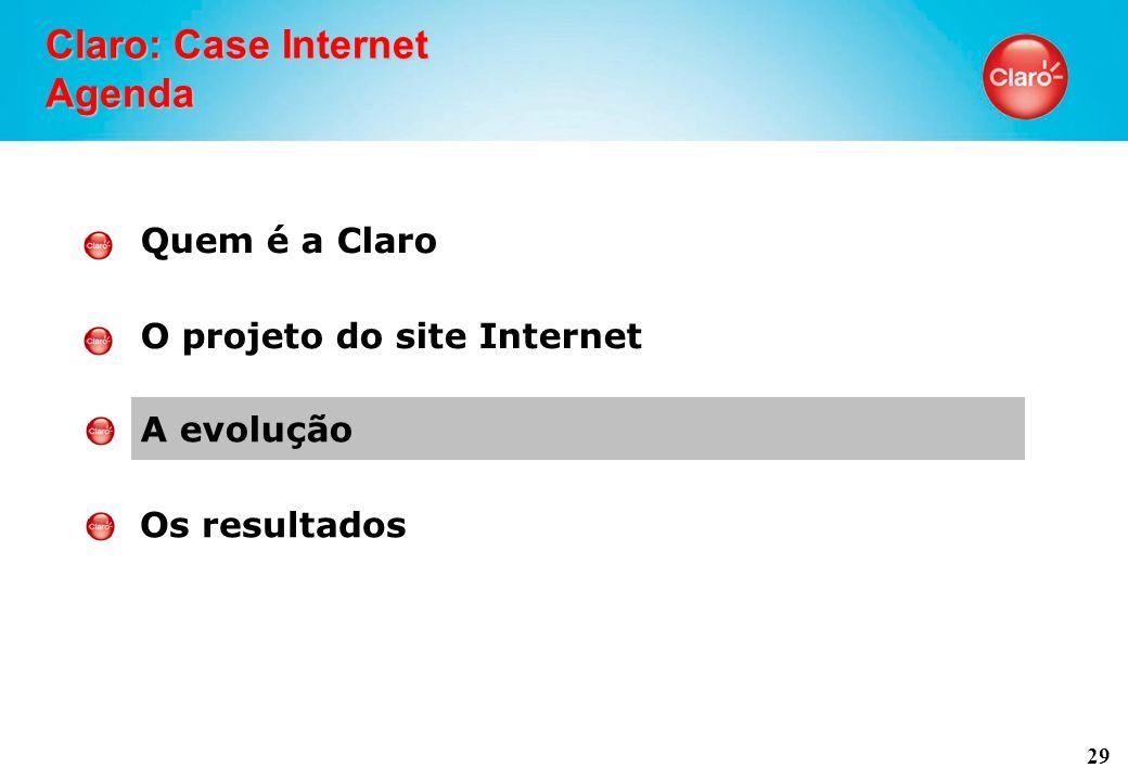 29 Claro: Case Internet Agenda Quem é a Claro O projeto do site Internet A evolução Os resultados