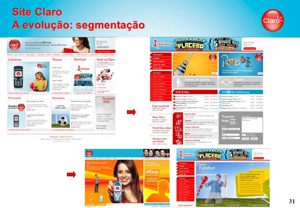 31 Site Claro A evolução: segmentação