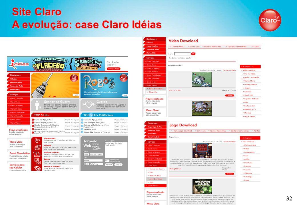 32 Site Claro A evolução: case Claro Idéias