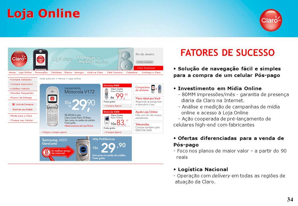 34 Solução de navegação fácil e simples para a compra de um celular Pós-pago Investimento em Mídia Online - 80MM impressões/mês - garantia de presença diária da Claro na Internet.