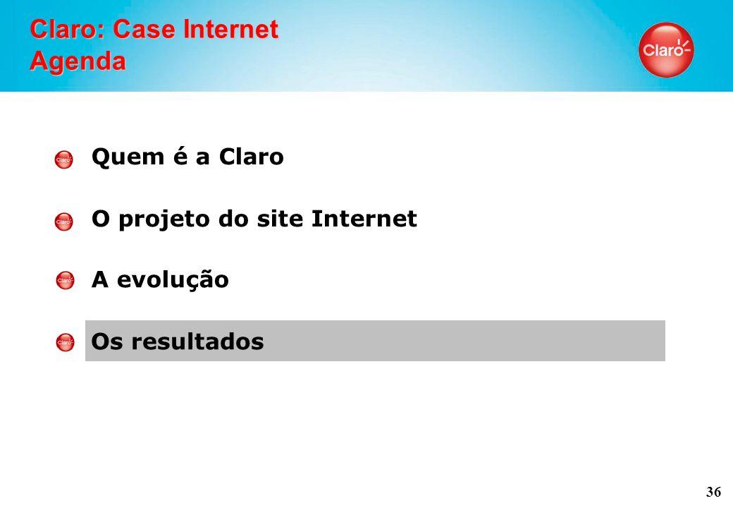 36 Claro: Case Internet Agenda Quem é a Claro O projeto do site Internet A evolução Os resultados