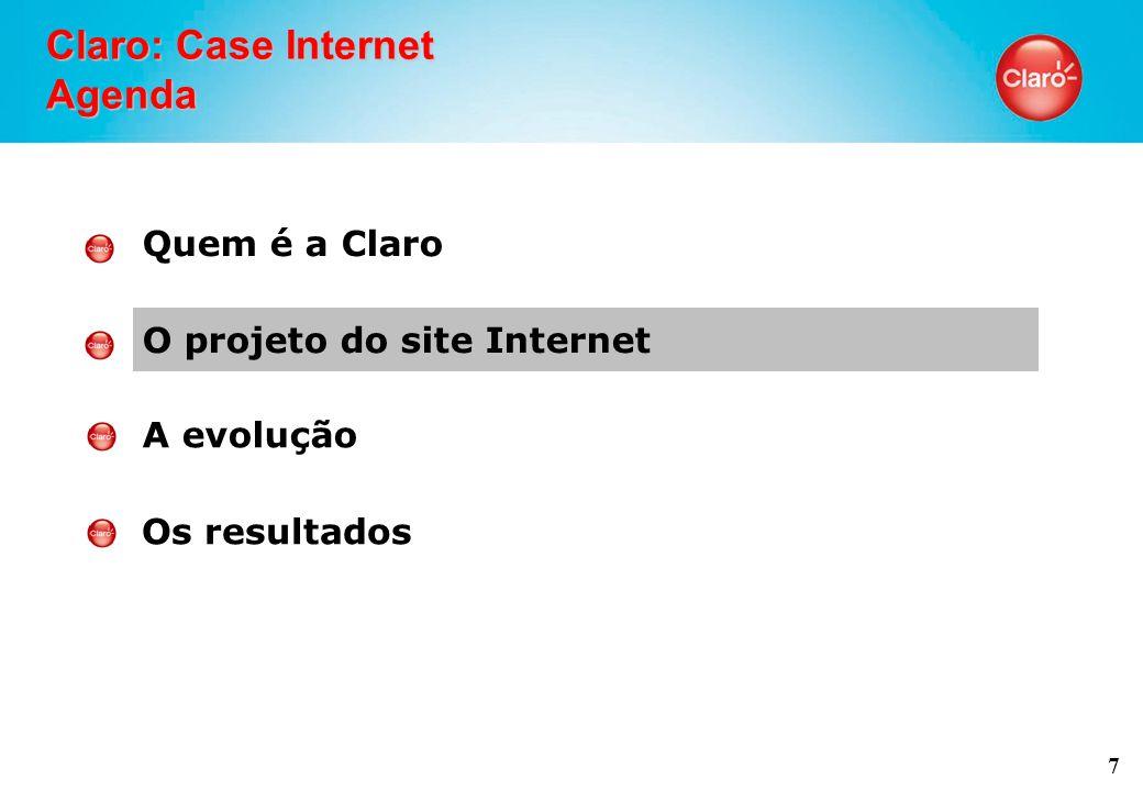 7 Claro: Case Internet Agenda Quem é a Claro O projeto do site Internet A evolução Os resultados