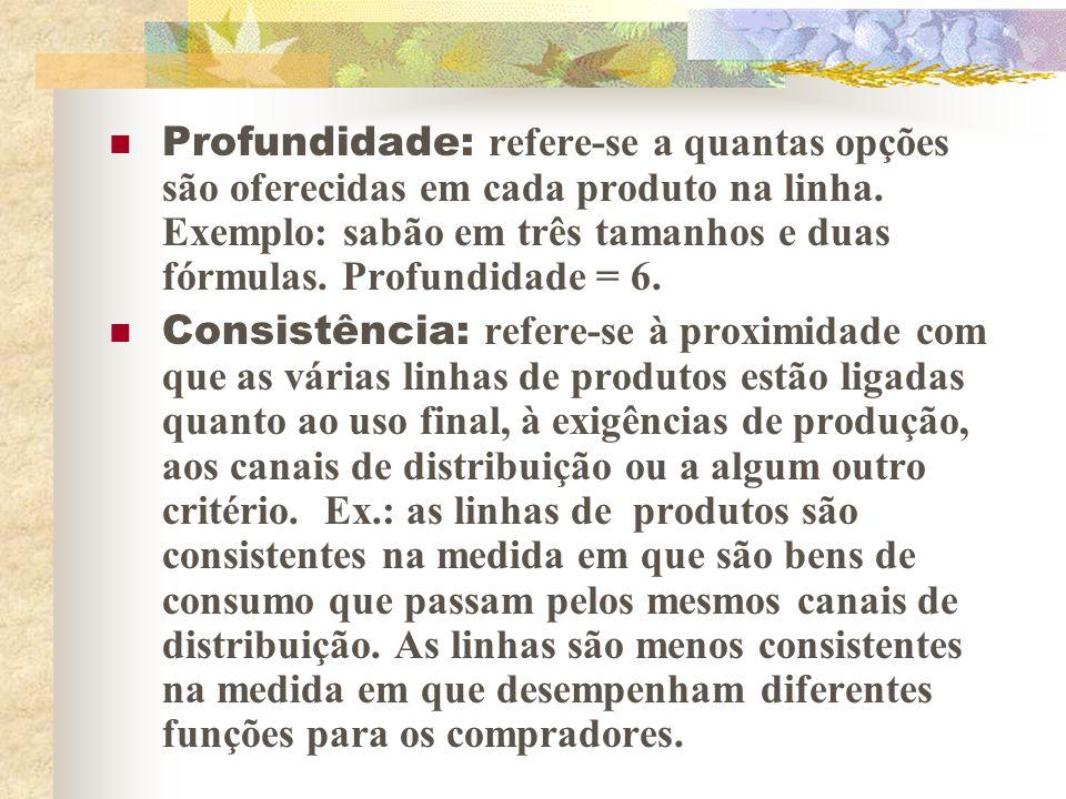 2 – DECISÕES DE LINHA DE PRODUTOS Um mix de produtos consiste em várias linhas de produtos.