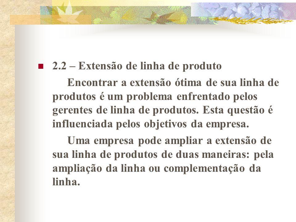 2.2.1 – Ampliação da linha A linha de produtos de qualquer empresa cobre uma parte da abrangência total possível.
