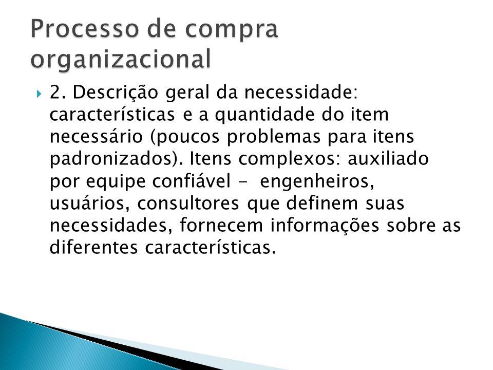 2. Descrição geral da necessidade: características e a quantidade do item necessário (poucos problemas para itens padronizados). Itens complexos: auxi