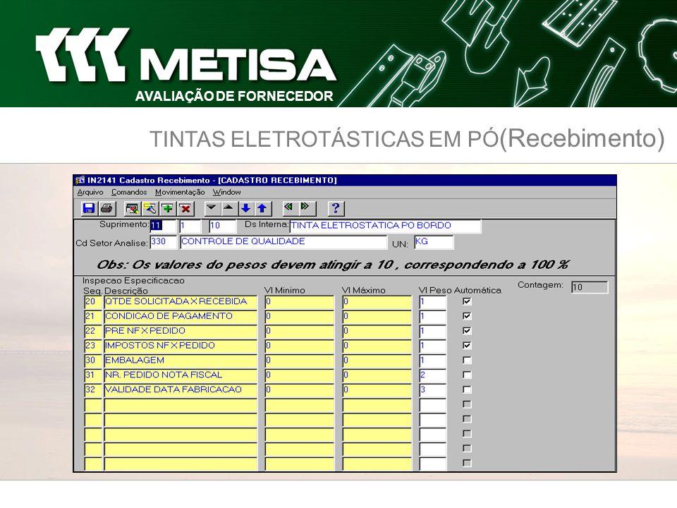 TINTAS ELETROTÁSTICAS EM PÓ (Recebimento) AVALIAÇÃO DE FORNECEDOR