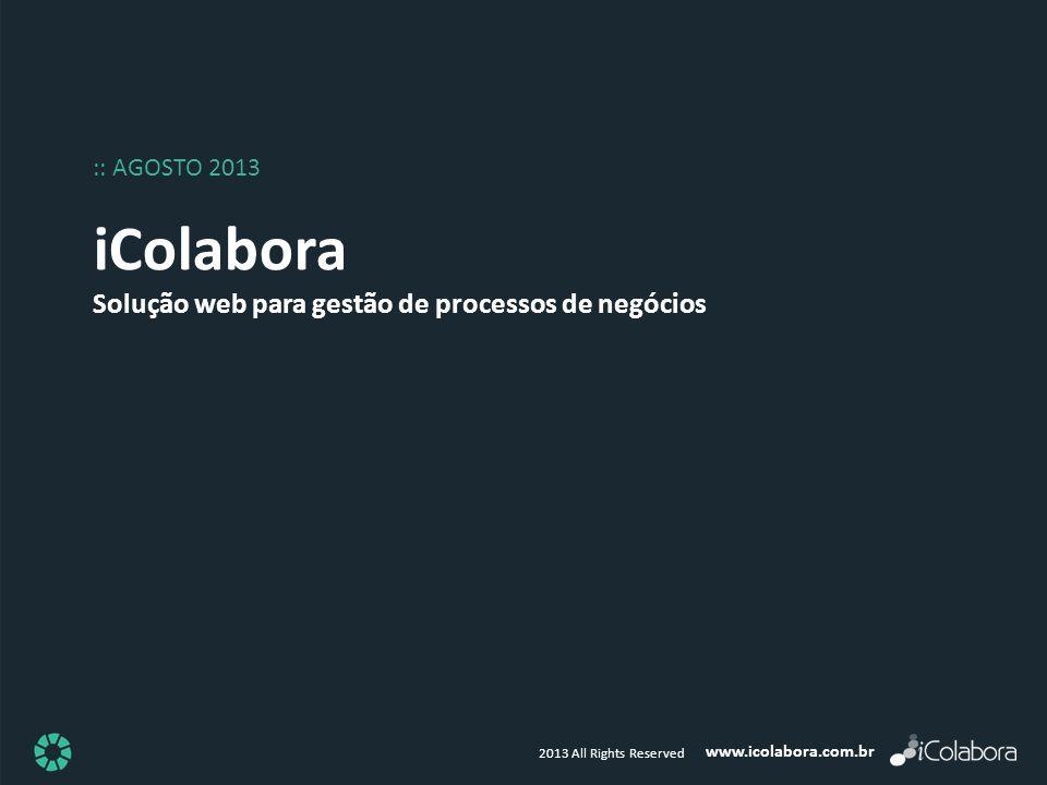 www.icolabora.com.br 2013 All Rights Reserved iColabora Solução web para gestão de processos de negócios :: AGOSTO 2013