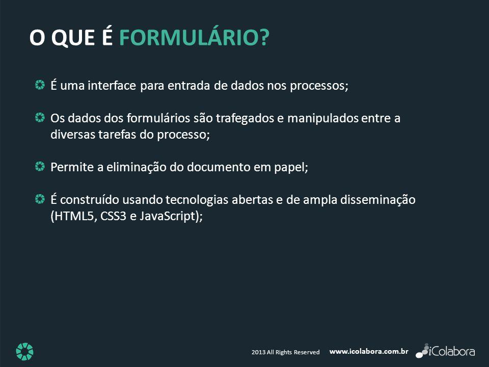 www.icolabora.com.br 2013 All Rights Reserved O QUE É FORMULÁRIO? É uma interface para entrada de dados nos processos; Os dados dos formulários são tr