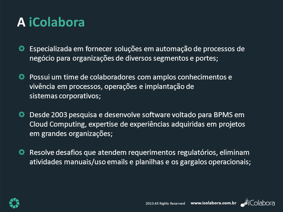 www.icolabora.com.br 2013 All Rights Reserved Especializada em fornecer soluções em automação de processos de negócio para organizações de diversos se
