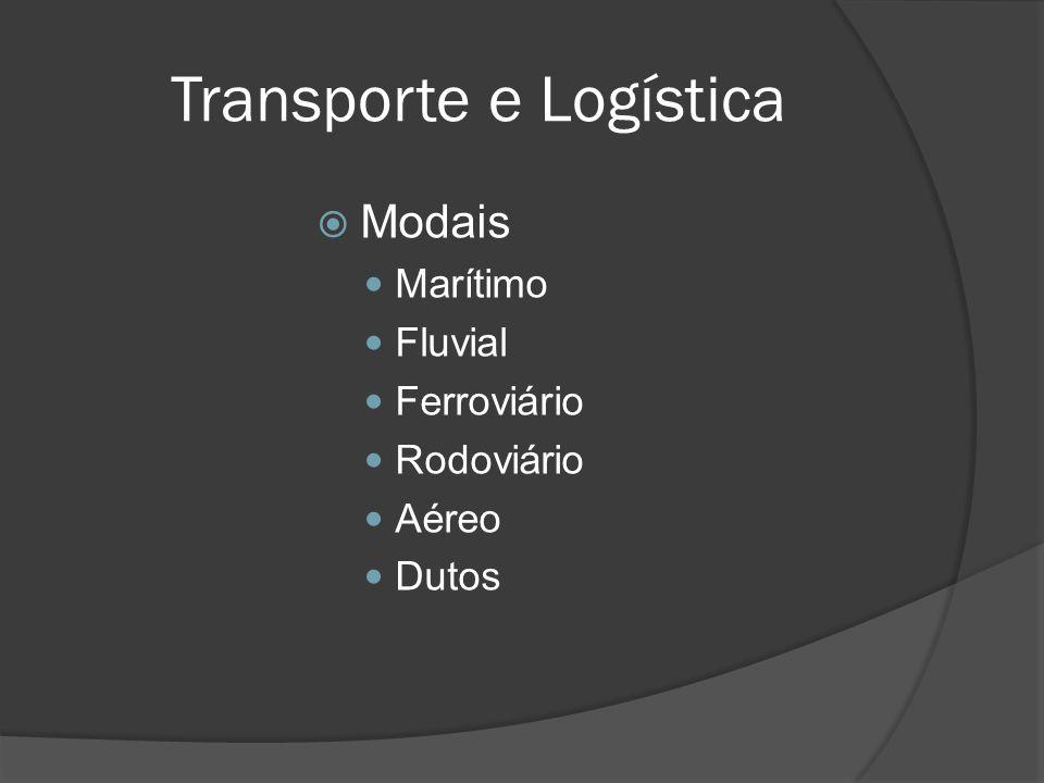Transporte e Logística Modais Marítimo Fluvial Ferroviário Rodoviário Aéreo Dutos
