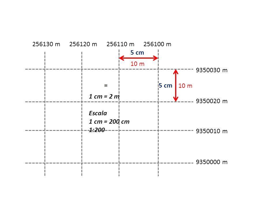 9350030 m 9350000 m 9350010 m 9350020 m 256100 m256110 m256120 m256130 m 10 m 5 cm = 1 cm = 2 m Escala 1 cm = 200 cm 1:200