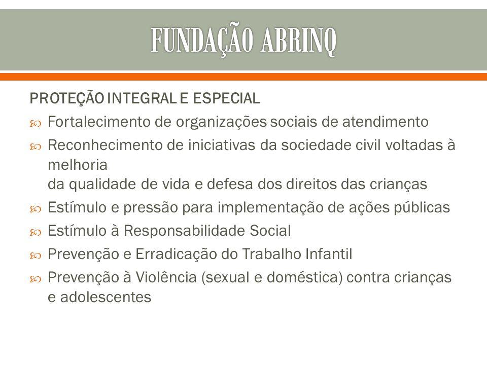 PROTEÇÃO INTEGRAL E ESPECIAL Fortalecimento de organizações sociais de atendimento Reconhecimento de iniciativas da sociedade civil voltadas à melhori