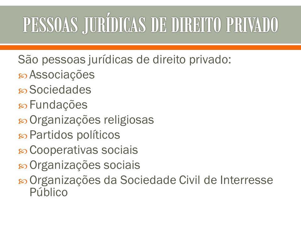 São pessoas jurídicas de direito privado: Associações Sociedades Fundações Organizações religiosas Partidos políticos Cooperativas sociais Organizaçõe