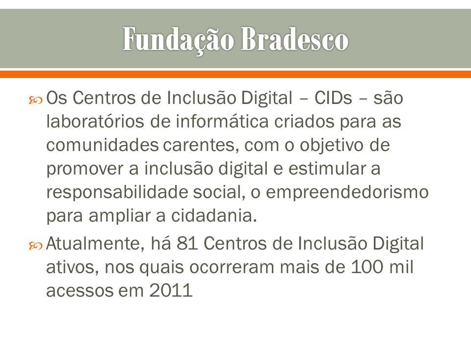 Os Centros de Inclusão Digital – CIDs – são laboratórios de informática criados para as comunidades carentes, com o objetivo de promover a inclusão di