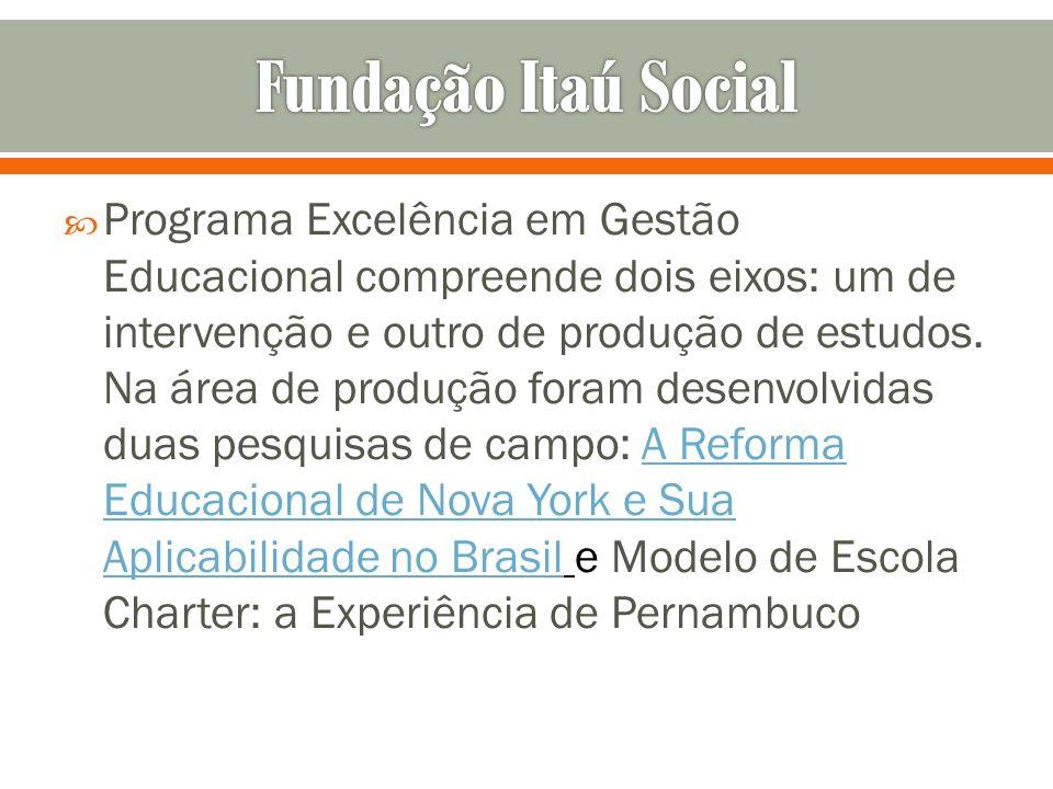 Programa Excelência em Gestão Educacional compreende dois eixos: um de intervenção e outro de produção de estudos. Na área de produção foram desenvolv