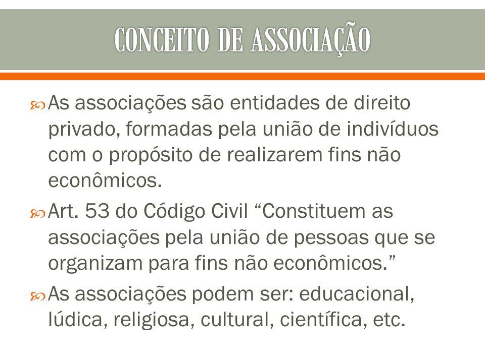As associações são entidades de direito privado, formadas pela união de indivíduos com o propósito de realizarem fins não econômicos. Art. 53 do Códig