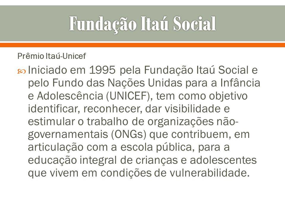 Prêmio Itaú-Unicef Iniciado em 1995 pela Fundação Itaú Social e pelo Fundo das Nações Unidas para a Infância e Adolescência (UNICEF), tem como objetiv