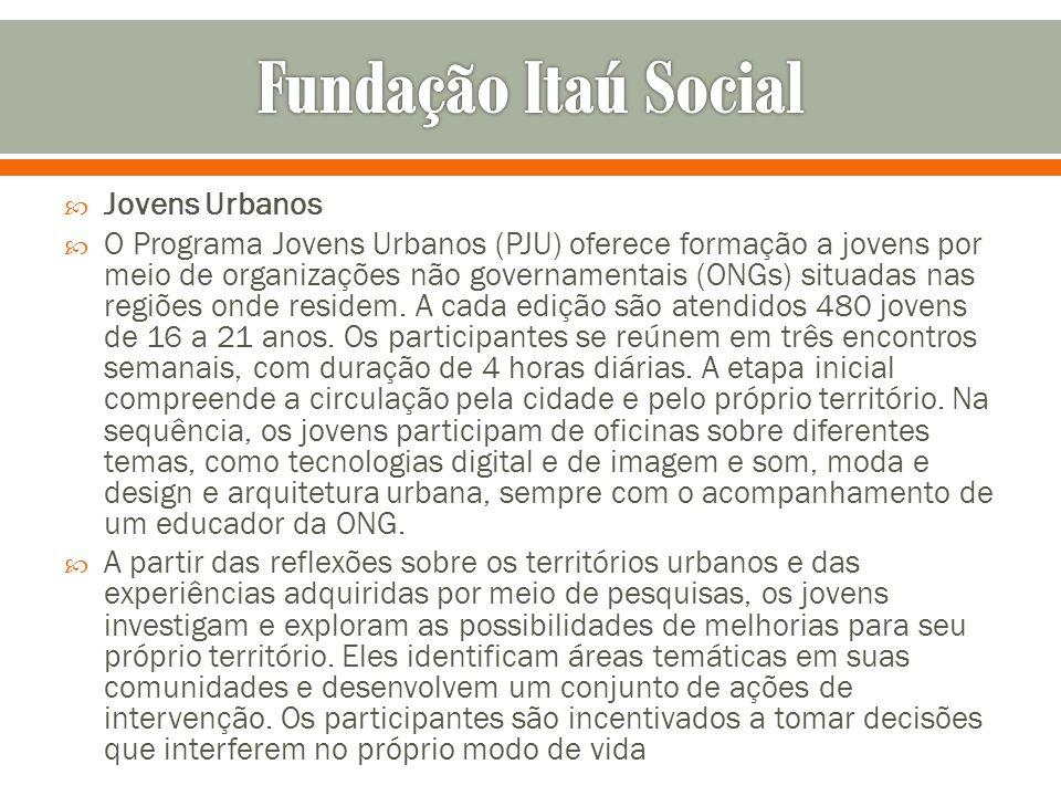 Jovens Urbanos O Programa Jovens Urbanos (PJU) oferece formação a jovens por meio de organizações não governamentais (ONGs) situadas nas regiões onde