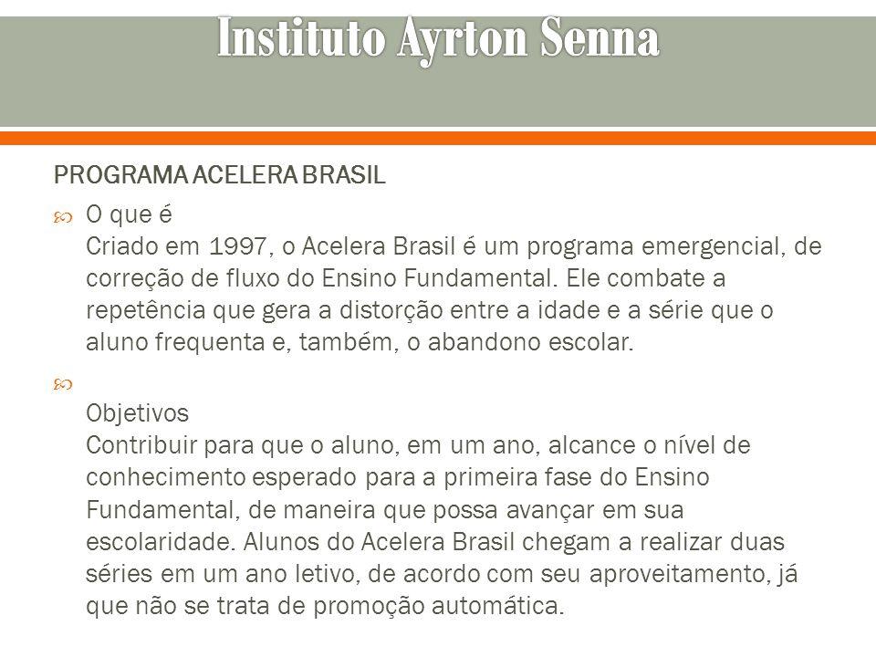 PROGRAMA ACELERA BRASIL O que é Criado em 1997, o Acelera Brasil é um programa emergencial, de correção de fluxo do Ensino Fundamental. Ele combate a