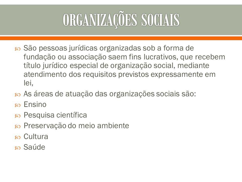 São pessoas jurídicas organizadas sob a forma de fundação ou associação saem fins lucrativos, que recebem título jurídico especial de organização soci