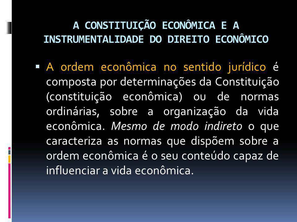 A CONSTITUIÇÃO ECONÔMICA E A INSTRUMENTALIDADE DO DIREITO ECONÔMICO A ordem econômica no sentido jurídico é composta por determinações da Constituição