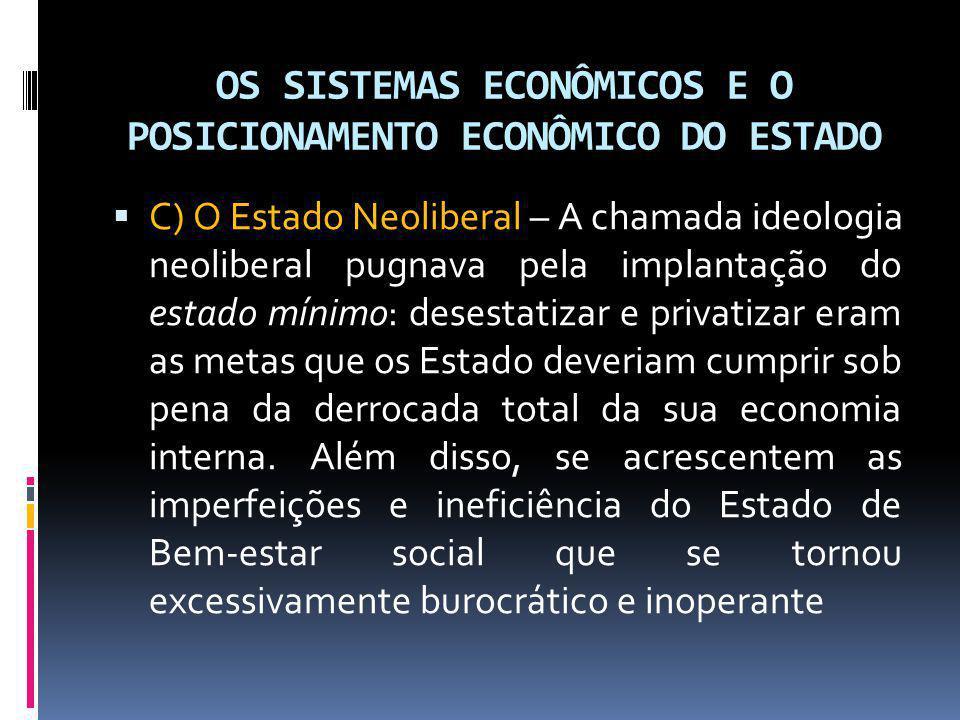 OS SISTEMAS ECONÔMICOS E O POSICIONAMENTO ECONÔMICO DO ESTADO C) O Estado Neoliberal – A chamada ideologia neoliberal pugnava pela implantação do esta