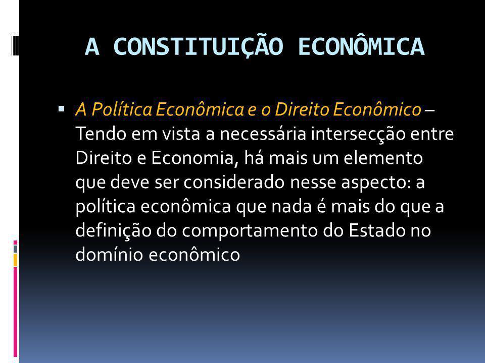 A CONSTITUIÇÃO ECONÔMICA A Política Econômica e o Direito Econômico – Tendo em vista a necessária intersecção entre Direito e Economia, há mais um ele