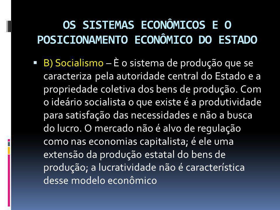 OS SISTEMAS ECONÔMICOS E O POSICIONAMENTO ECONÔMICO DO ESTADO B) Socialismo – È o sistema de produção que se caracteriza pela autoridade central do Es