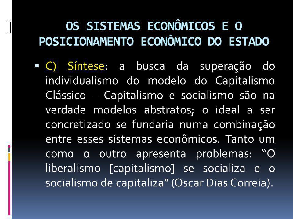 OS SISTEMAS ECONÔMICOS E O POSICIONAMENTO ECONÔMICO DO ESTADO Posicionamento Econômico do Estado – A) O Estado Liberal – As Constituições liberais faziam repousar nas próprias leis econômicas a organização da economia.