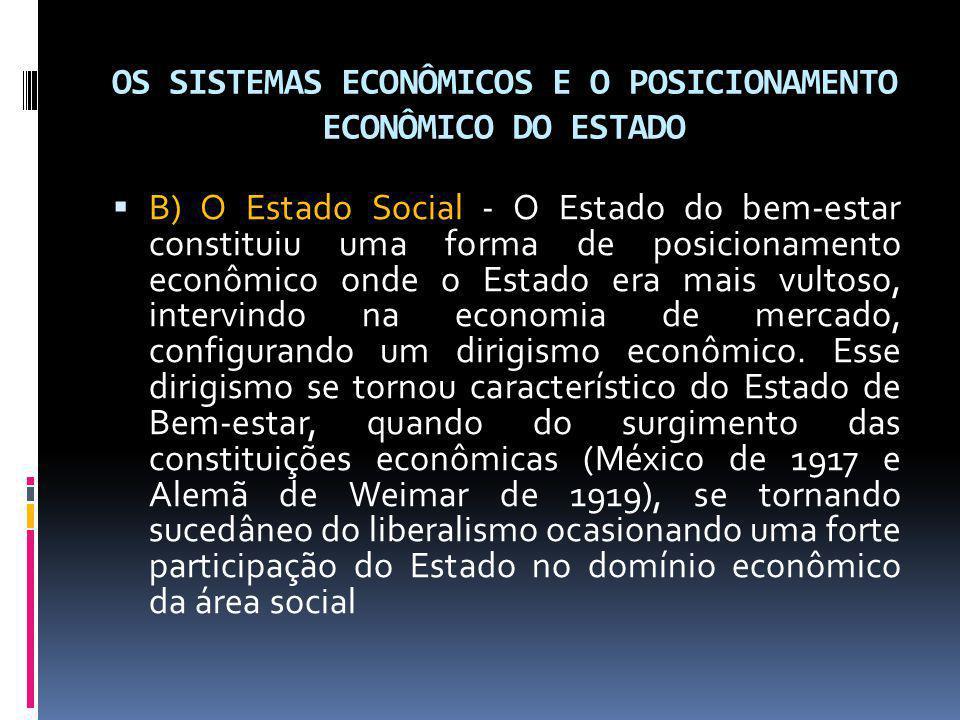 OS SISTEMAS ECONÔMICOS E O POSICIONAMENTO ECONÔMICO DO ESTADO B) O Estado Social - O Estado do bem-estar constituiu uma forma de posicionamento econôm