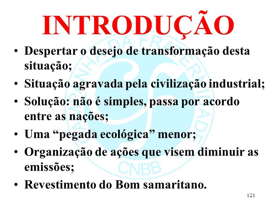 INTRODUÇÃO Despertar o desejo de transformação desta situação; Situação agravada pela civilização industrial; Solução: não é simples, passa por acordo