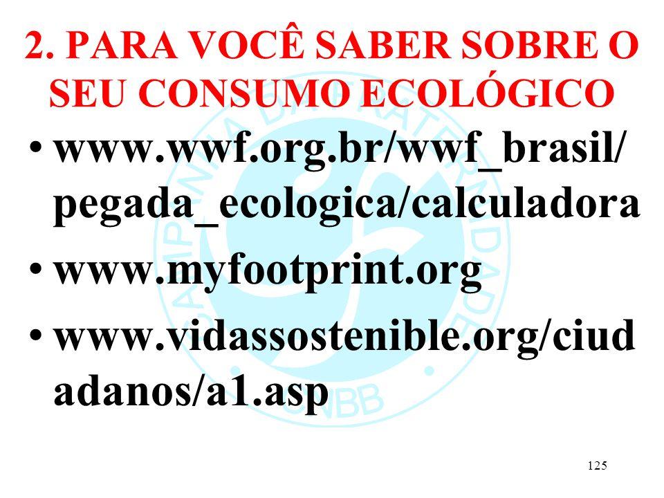 2. PARA VOCÊ SABER SOBRE O SEU CONSUMO ECOLÓGICO www.wwf.org.br/wwf_brasil/ pegada_ecologica/calculadora www.myfootprint.org www.vidassostenible.org/c
