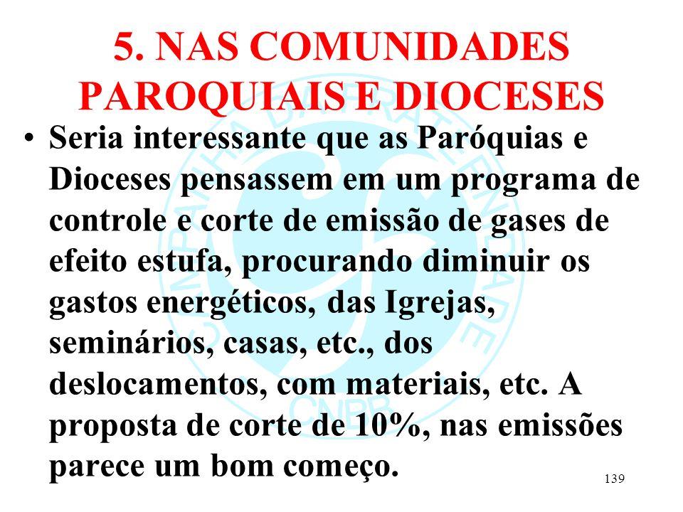 5. NAS COMUNIDADES PAROQUIAIS E DIOCESES Seria interessante que as Paróquias e Dioceses pensassem em um programa de controle e corte de emissão de gas