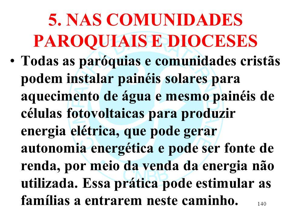 5. NAS COMUNIDADES PAROQUIAIS E DIOCESES Todas as paróquias e comunidades cristãs podem instalar painéis solares para aquecimento de água e mesmo pain