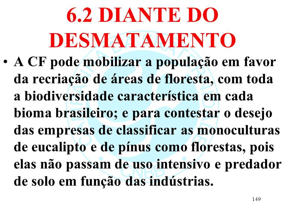 6.2 DIANTE DO DESMATAMENTO A CF pode mobilizar a população em favor da recriação de áreas de floresta, com toda a biodiversidade característica em cad
