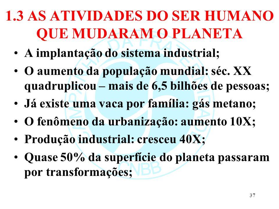 1.3 AS ATIVIDADES DO SER HUMANO QUE MUDARAM O PLANETA A implantação do sistema industrial; O aumento da população mundial: séc. XX quadruplicou – mais