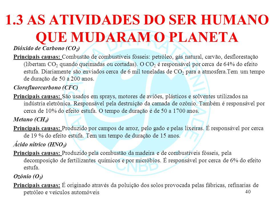 1.3 AS ATIVIDADES DO SER HUMANO QUE MUDARAM O PLANETA Dióxido de Carbono (CO 2 ) Principais causas: Combustão de combustíveis fósseis: petróleo, gás n