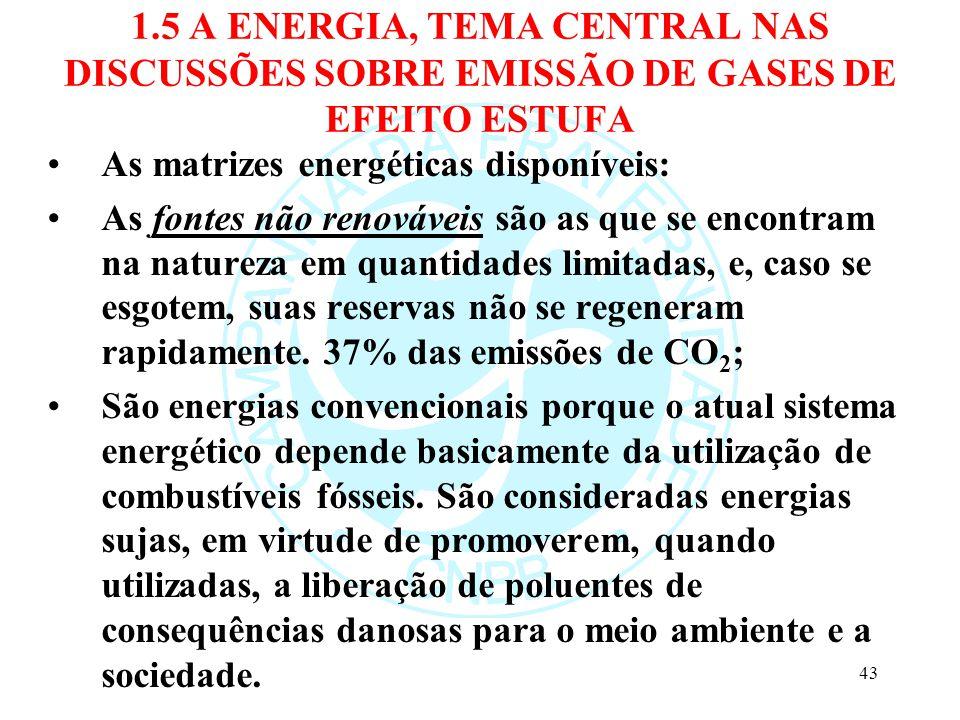 1.5 A ENERGIA, TEMA CENTRAL NAS DISCUSSÕES SOBRE EMISSÃO DE GASES DE EFEITO ESTUFA As matrizes energéticas disponíveis: As fontes não renováveis são a