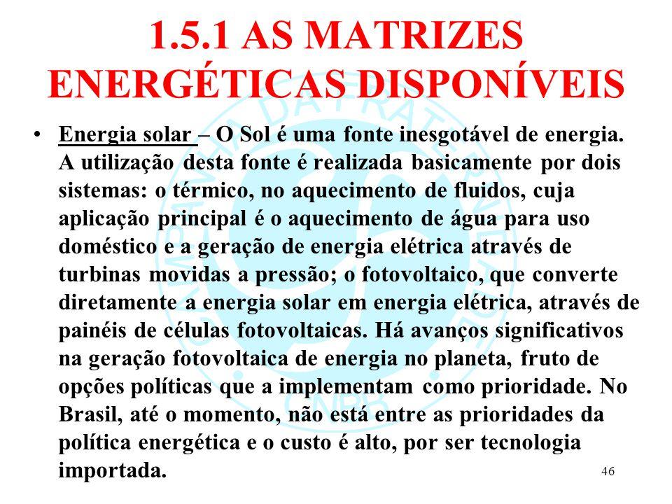 1.5.1 AS MATRIZES ENERGÉTICAS DISPONÍVEIS Energia solar – O Sol é uma fonte inesgotável de energia. A utilização desta fonte é realizada basicamente p