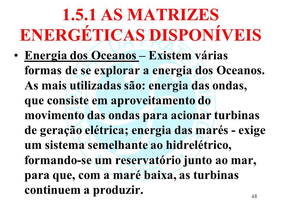 1.5.1 AS MATRIZES ENERGÉTICAS DISPONÍVEIS Energia dos Oceanos – Existem várias formas de se explorar a energia dos Oceanos. As mais utilizadas são: en