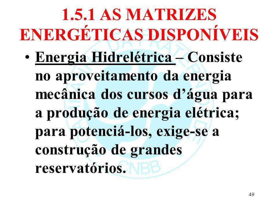 1.5.1 AS MATRIZES ENERGÉTICAS DISPONÍVEIS Energia Hidrelétrica – Consiste no aproveitamento da energia mecânica dos cursos dágua para a produção de en