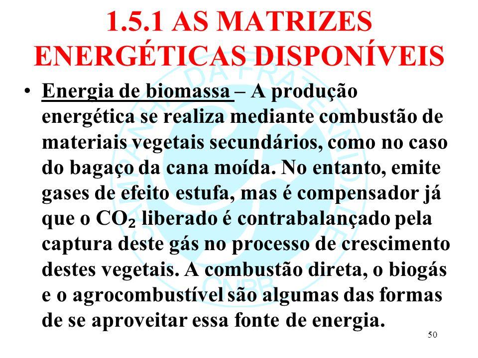 1.5.1 AS MATRIZES ENERGÉTICAS DISPONÍVEIS Energia de biomassa – A produção energética se realiza mediante combustão de materiais vegetais secundários,